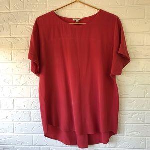 Madewell 100% silk oversize tee red orange color